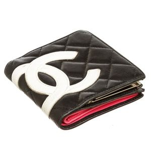 Chanel Bags - Chanel Black Quilted Leather Ligne Compact Wallet